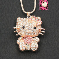 Women's Crystal Cute Cat Kitten Pendant Sweater Chain Betsey Johnson Necklace