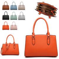 Ladies Classic Leather Handbag Multi Compartment Shoulder Bag Grab Bag MA36627