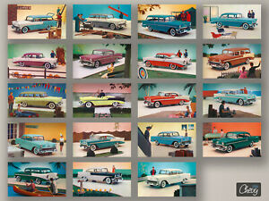 1956 Chevrolet Postcards Complete Year / Bel Air, Two-Ten 210, One-Fifty 150
