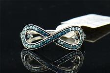 Ladies .925 Sterling Silver Infinity Blue Diamond Engagement Ring Wedding Band