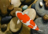 realistic Original wildlife art Oil painting  koi carp fish artist john payne
