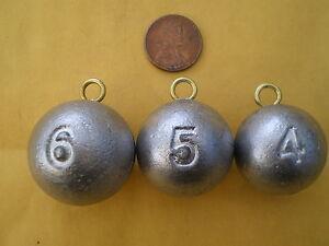 15 PCS. CANNON BALL SINKERS 6,5,4 OZ. W/#2 WIRE EYE 5 EA. G/QUALITY F/DO-IT MOLD