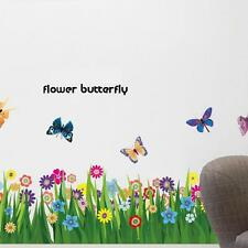 Large Flower Grass Butterfly Wall Border Decals Removable Window Sticker Decor