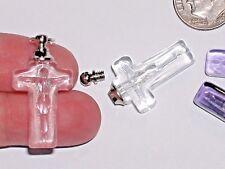 1pc. facet Clear mini Cross vial necklace tiny pendant sm glass bottle Screw cap