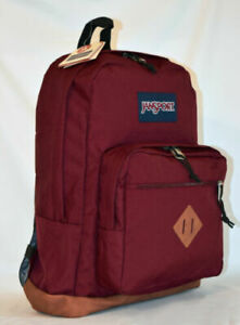 NWT JANSPORT City View Backpack Leather Bottom Russet Red Free Shipping