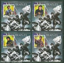 CENTRAL AFRICA  2014 BEATLES 50th FIRST  TOUR IN THE US SET OF FOUR S/S  MINT NH