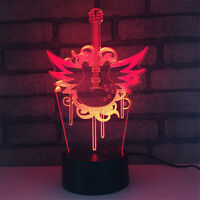 Guitar 3D Night Light 7 Color Change LED Desk Lamp Touch Room Decor