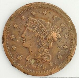 1854 US Large Cent 1C Copper Penny Coin Braided Hair Bust American 6 Point Star