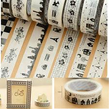 10Pcs DIY 10M Washi Paper Tape Adhesive Sticky Decorative Scrapbooking Sticker