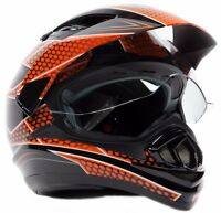Adult Full Face Dual Sport Orange Helmet Off Road ATV Motorcycle Enduro Small