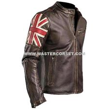 Men's cafe racer real leather jacket with uk flag biker slim fit motocycle