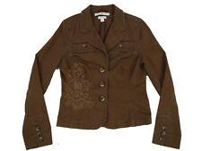 Tommy Hilfiger Womens Jackets Medium Brown Stretch Button Down Cotton Basic Coat