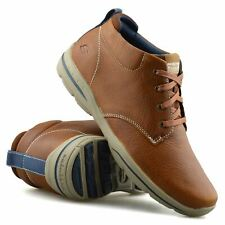Mens Skechers Leather Memory Foam Casual Walking Ankle Boots Trainers Shoes Size