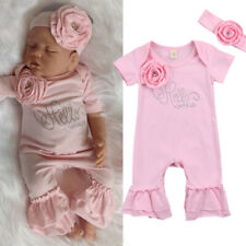Cute Newborn Baby Girl Flowers Romper Clothes Bodysuit Jumpsuit Headband Outfit