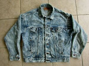 Vintage Levis Denim Jean Jacket Size L Acid Wash 80s 70507