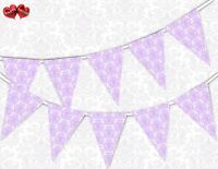 Exclusive Lavender Damask Pattern Themed Bunting Banner 15 flags by PARTY DECOR
