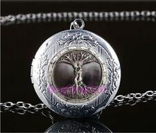 Gray Tree of Life Man Cabochon LOCKET Pendant Silver Chain Necklace USA Ship #72