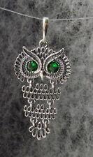 "Oxidized Sterling Silver Owl Pendant, Green CZ Crystal Eyes, Dangle, 1 3/4"""