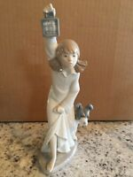 "Lladro NAO ""Who is There?""  Girl W/Lantern & Dog  No Box *MINT*"