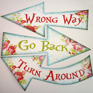 8 Alice in Wonderland Signs/Arrows Quote Mad Hatters Tea Party Props FLORAL