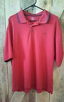 Dockers Men's Polo Golf Shirt XL Red 100% Polyester Short Sleeve Performance Fit