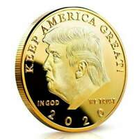 President Donald Trump Coin Gold Plated Commemorative Coins 2020 with Gift Box 1 Pack