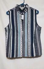 Women juniors Christopher & Banks blue white zipper vest medium M NEW