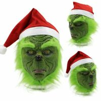 The Grinch Stole Mask With Christmas Hat Party Prop Cosplay Costume Xmas