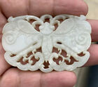 Original Antique 1900s Chinese Hand Carved White Jade Pendant Of Butterfly