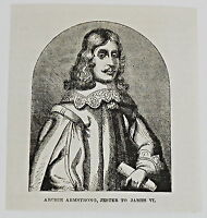 small 1883 magazine engraving ~ ARCHIE ARMSTRONG, JESTER TO JAMES VI, Scotland