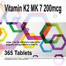 Vitamin K2 MK 7 200mcg - Vegetarian and Vegan 365 Tablets