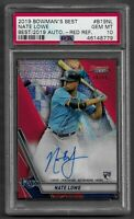 2019 Bowman's Best Auto Nate Lowe Rookie RC Red /10 Refractor Auto PSA 10 Gem $$