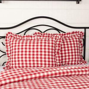 VHC Brands Farmhouse Standard Sham Red Annie Buffalo Check Cotton Bedroom Decor