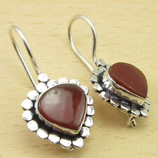 "925 Silver Overlay Red CARNELIAN Gemstone DESIGNER FASHIONABLE Earrings 1.2"""