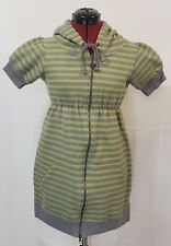 Free People Striped Hoodie Sweater Dress Front Zipper Green Gray Size Small