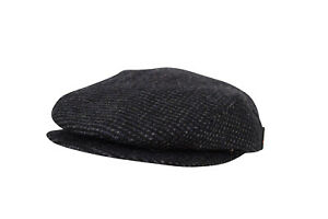 Wigens NWT Wool / Cashmere Newsboy Cap in Black, Gray & Blue Size 58, 7 & 1/4th