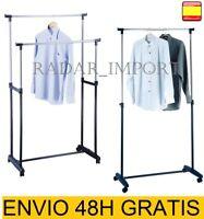 Perchero metálico con Ruedas Extensible de Altura Ajustable Plegable acero inox.