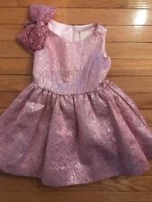 Chasing Fireflies Special Occasion Wedding Pink Girls Brocade Dress 3t Sequin