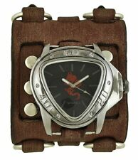 Nemesis Red Dragon Gunmetal Watch with Faded Brown Wide Detail Leather Cuff Band