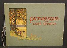 Wisconsin Lake Geneva Booklet 16 pages c1920s Souvenier E45