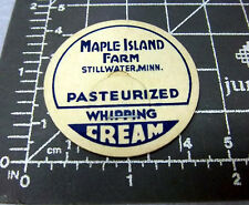 vintage Milk Bottle Cap from Maple Island Farm, Stillwater Minn, whipping cream