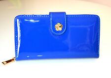 PORTAFOGLIO BLU donna oro vernice eco pelle lucida borsello portamonete borsa A1