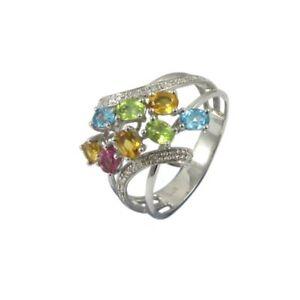 9ct White Gold Triple Shank Twist Multi Color Gemstones & Diamond Ring O 1/2