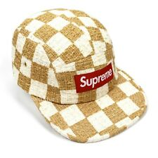 NWT Supreme NY Tan White Red Box Logo Checkerboard Boucle Cap Cap Hat AUTHENTIC
