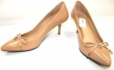 Ladies MICHAEL KORS Patent Nude Slip On Court Heels Size UK 7 - C12