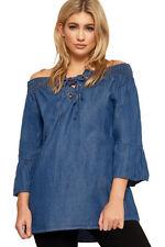 Vestiti da donna blu in cotone a barchetta