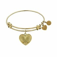 "Non-Antique Yellow Stipple Finish Brass ""Angelica Heart"" Angelica Bangle"
