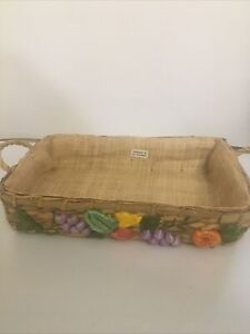 Woven Rattan 3D Fruit Handled Rectangle Basket Philippines Handmade Lined