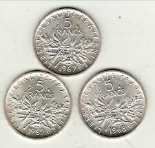 trio qualitè   5 FRANCS SEMEUSE ARGENT  1967/68/69   plus  RARE  sèrie