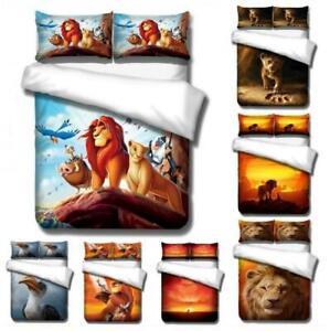 Lion King Quilt Duvet Cover Cartoons Bedding Set Pillowcase Single Double Size